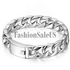 Polished Men's Silver Tone Heavy Stainless Steel Curb Chain Bracelet Link Bangle