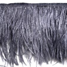 Gunmetal Ostrich Feather Fringe Trim - High Density
