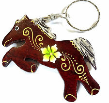 Porte clé clef Cheval Poney Bois Artisanal Fleur wooden key holder horse cle
