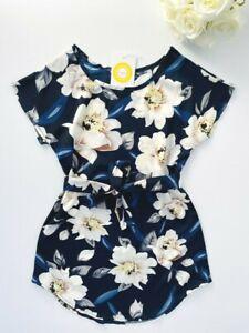 size 2/3/4/6/8 years new girls dress dark blue floral curve hem girls dress