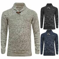 Mens Ex-M&S High Shawl Neck Weave Knitted Long Sleeve Winter Pullover Jumper Top