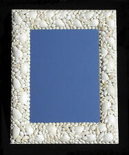 "White Seashell Wall Mount Mirror 15"" X 19"" Nautical Seashore Costal Beach Decor"