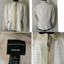 DONCASTER CREAM Leather/LINEN  Zip Blazer Jacket Sz 14