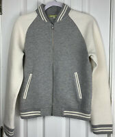 Gianni Bini Bambi Front Zip & Pockets Bomber Jacket Medium Size Cream & Gray