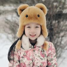 Kids Children whole fur pelt Real Rabbit Fur Hat Warm Soft with Earlap Ear Muff