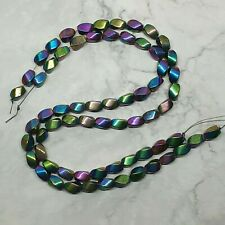 Rainbow Pyrite Twisted Drums Approx. 12x8mm - 2 Strands