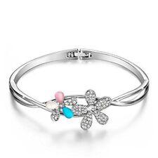 Menton Ezil Best Friend Forever Bangle Silver Plated Flower Bracelet