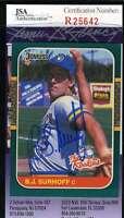 Bj Surhoff 1987 Donruss Rookies Jsa Coa Signed Authentic Autographed Brewers