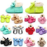 USA Infant Moccasin Newborn Baby Girls Boys Shoes Soft Sole Boots Prewalker