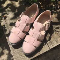 Topshop Nude Pink Faux Leather Chunky Flat Shoes Size 3 / EUR 36 BNWOT