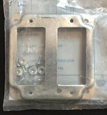 """HUBBELL RACO Metal Exposed Work Cover 809C 4"""" Square Box 2 GFCI Devices"""