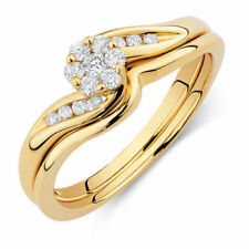 14K Yellow Gold Over 0.50 Ct Engagement Bridal Ring Set Round Cut D/Vvs1 Diamond