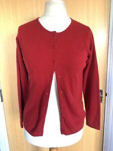Lochmere Ladies Cardigan 12 14 100% Cashmere Red Winter Smart *defects*