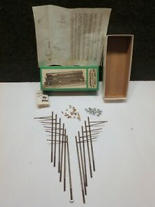 VINTAGE BOWSER O SCALE TROLLEY ENGINE OVERHEAD WIRE KIT , 11 METAL POLES