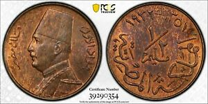 EGYPT , 1/2 MILLIEME KING FUAD FOUAD 1932 PCGS MS 64 RB ( ST1B )  , RARE