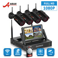 """HD Wireless Security Camera System 1080P 4CH 7""""Monitor WIFI NVR Outdoor Home 1TB"""
