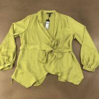 BCBG Mazazria Women's Size Medium Golden Olive Long Sleeve Wrap Blouse NWT