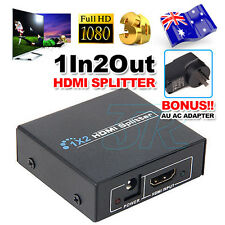 HDMI Splitter Amplifier 1 In 2 Out Duplicator Full HD 1080p 3D V1.4 Foxtel DVD