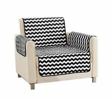 Quick Fit Fifi Chevron Reversible Furniture Protector Chair Slipcover Black