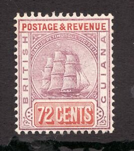 Sc# 169 - British Guiana - 72c - Sailing Ship - 1907 - Superfleas -  MH - cv$42