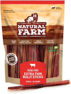 Natural Farm Bully Sticks For Small Dogs And Seniors – Extra Thin, 6-Inch Long