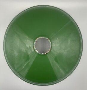 "Vintage 12"" Green Porcelain Metal Industrial Barn Gas Station Light Lamp Shade"