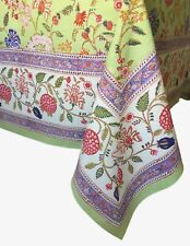 """Anokhi Palampore Green Floral Cotton Tablecloth, 70""""x108"""""""
