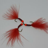 3 X Bloodworm Cat Bugs Nymph Wet Trout Flies Sizes 10,12 Fishing Flies