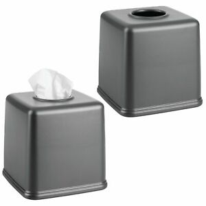 mDesign Plastic Square Facial Tissue Box Cover Holder, 2 Pack - Dark Gray
