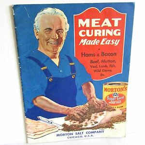 1935 Meat Curing Made Easy Booklet with Ads Morton Salt Co Recipes VTG FREE SH