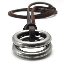 Jewelry Men's Ladies Necklace, Ring Pendant with Brown Leather Chain, Brown J8H6