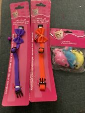 New listing 2 cat collars with bell/bow Purple&Orange Color And A Pack Of 3 Cat Toys (Mice)