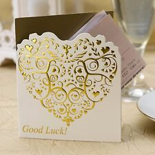 10 LOTTERY TICKET HOLDERS Wedding Favour IVORY GOLD Vintage Romance HEART