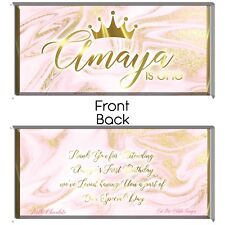Pink & Gold Personalised Chocolate Wrapper Printable Digital - Print At Home