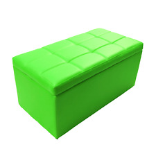 Modern Rectangular Ottoman Cube Coffee Table Bench Footrest Lift Top Lime Green