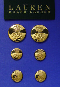 6 RALPH LAUREN SOLID METAL CROWN LRL JACKET REPLACEMENT BUTTONS GOOD USED COND.
