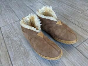 LL BEAN womens SHEARLING lined MOACCASIN slippers 9 M brown
