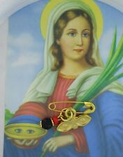 Simulated Azabache Evil Eye Protection Gold Plated Baby pin/Ojos de Santa Lucia