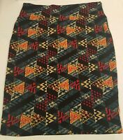 Lularoe Womens Size L Skirt Multicolor Shapes Triangle Red Blue Heart