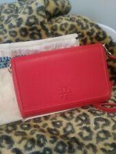 Tory Burch Thea Flat Wallet Crossbody Brilliant Red