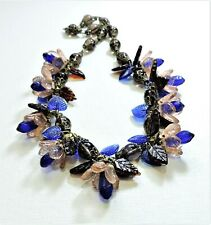 Vintage Peach Blue Flowers Leaves Lampwork Art Glass Bead Necklace Fe20433