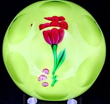 Lovely SAINT LOUIS Red TULIP Multi Faceted ART Glass PAPERWEIGHT Studio