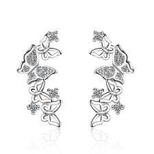 Women Elegant Silver Plated Zircon Crystal Butterfly Ear Stud Earrings Jewelry