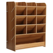 Wood Desktop Pen Pencil Box Storage Holder Shelf Home Office Container Organize