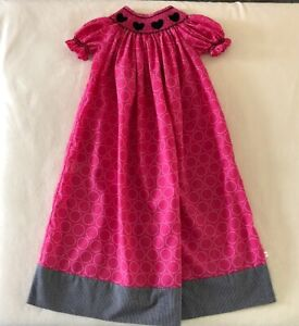 LOLLY WOLLY DOODLE Smocked Bishop Dress Little Girls SIZE 6 Pink Short Sleeves