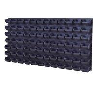 92 teiliges SET Lagersichtboxenwand Stapelboxen Werkzeugwand Schwarz