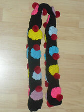 NEW BLACK SKINNY COLORFUL CUPCAKE LONG SCARF WINTER KAWAII KITSCH