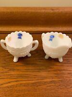 Vintage Imperial Milk Glass Cream & Sugar Bowl Set Original Stickers FLAWLESS