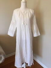 NEW J.CREW EYELET CAFTAN EMBROIDERED BEACH COVER-UP MAXI DRESS WHITE SZ XS G6495