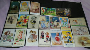 20 VINTAGE CHILDREN'S COMIC AND GREETINGS POSTCARDS -11 POSTED 1910 - 1963 -